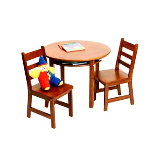 Lipper International Child's Round Table with shelf and 2 chairs-Cherry