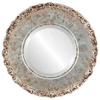 Williamsburg Framed Round Mirror in Champagne Silver - Antique Silver