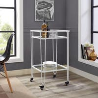 35 Inch Metal and Glass Serving Cart