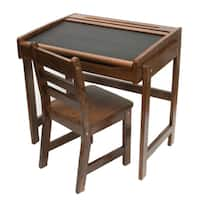 Lipper International Child's Desk with Chalkboard Top and Chair - Walnut