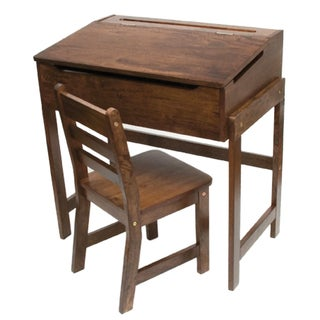Lipper International Child's Slanted Top Desk and Chair Walnut