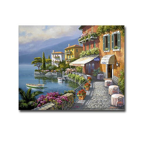 Seaside Bistro Cafe by Sung Kim Gallery Wrapped Canvas Giclee Art