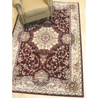 Red Traditional Tabriz Medallion Rug - 7'10 x 9'10