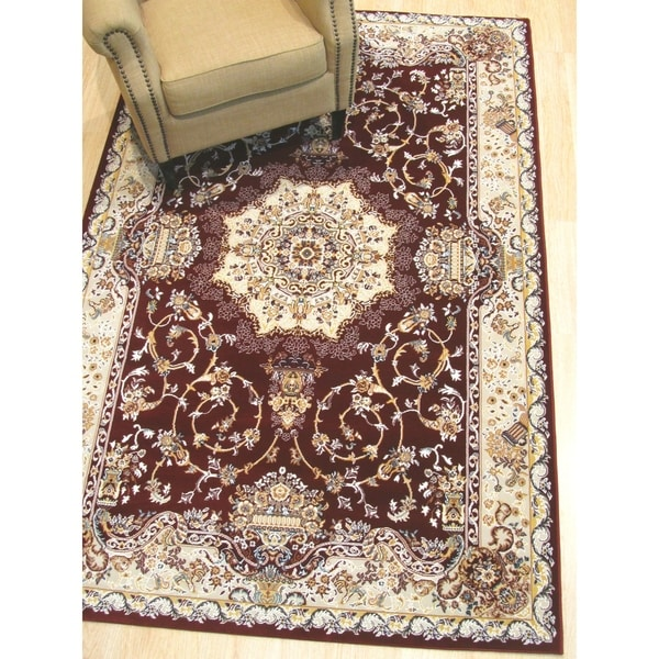 Shop Red Traditional Tabriz Medallion Rug 7 10 Quot X 9 10