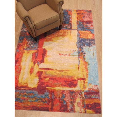 "Red Distressed Bohemian Moderno Art Rug - 4'4"" x 6'3"""