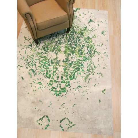 "Green Distressed Bohemian Moderno Medallion Rug - 5'11"" x 8'10"""