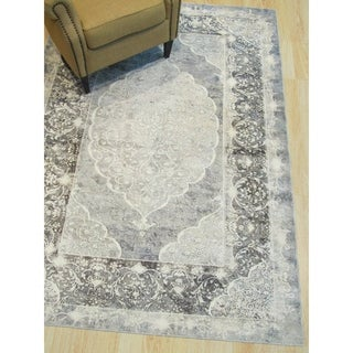 "Gray Distressed Bohemian Moderno Medallion Rug - 5'3"" x 7'6"""
