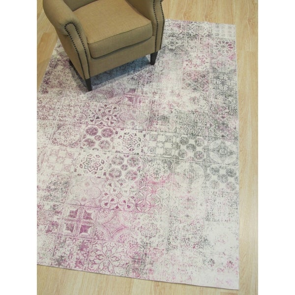 "Pink Distressed Bohemian Moderno Mosaic Rug - 4'4"" x 6'3"""