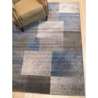 Blue Modern Geometric Porya Rug - 5' 3 x 7' 3