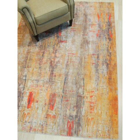 "Gold Distressed Bohemian Moderno Art Rug - 4'4"" x 6'3"""
