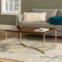 42-inch White Faux Marble Coffee Table