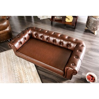Furniture of America Rover Brown Leatherette Pet Bed