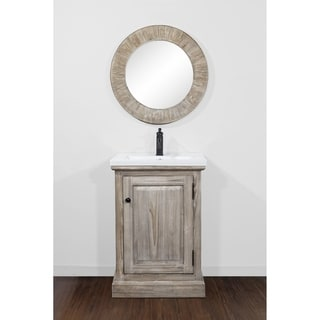 """24""""Rustic Solid Fir Single Sink Vanity with Ceramic Top-No Faucet"""