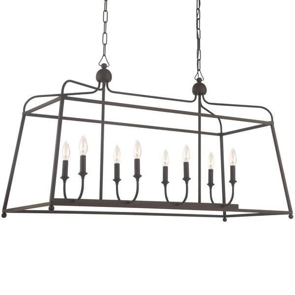 Modern 8-light Dark Bronze Linear Chandelier