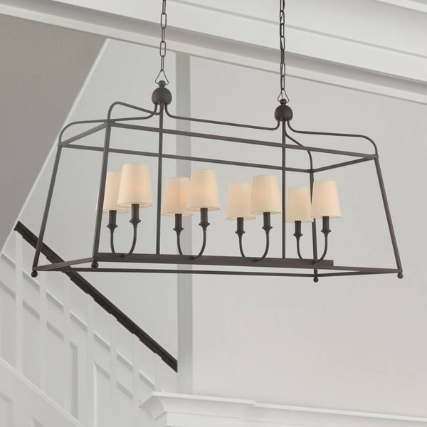 Modern 8-light Dark Bronze Linear Chandelier