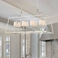 Modern 8-light Polished Nickel Linear Chandelier