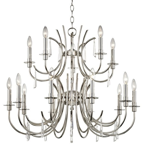 Transitional 15-light Polished Nickel/Crystal Chandelier