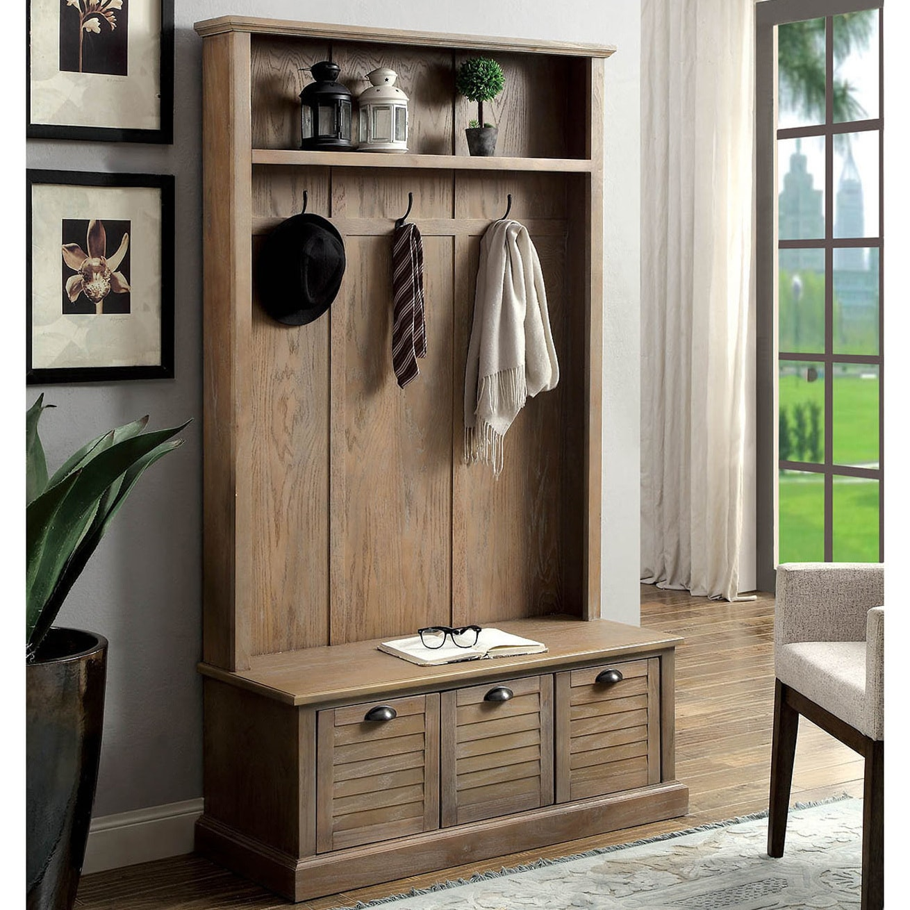 Furniture Of America Miba Rustic Grey Hall Tree With Storage Bench On Sale Overstock 20272735