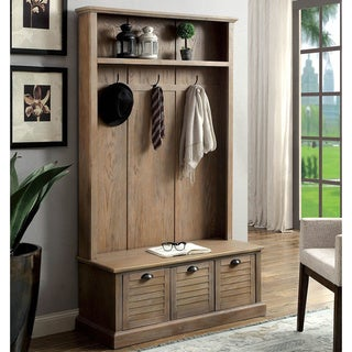 Link to Furniture of America Miba Rustic Grey Hall Tree with Storage Bench Similar Items in Living Room Furniture