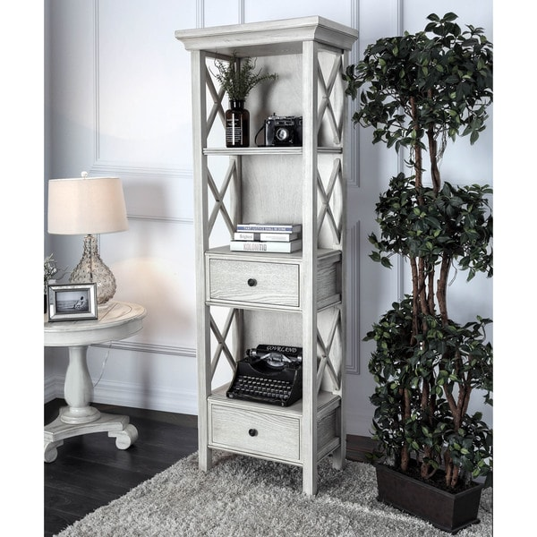 Furniture Of America Biel Rustic Antique White Storage Bookshelf