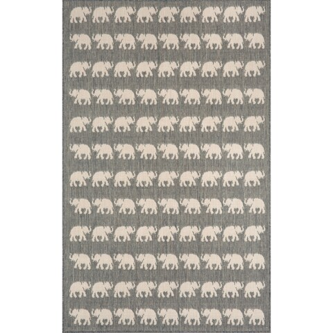 Liora Manne Marching Elephants Outdoor Rug (7'10 x 7'10) - 7'10 x 7'10