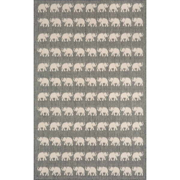 Marching Elephants Outdoor Rug - 7'10 x 7'10