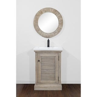 "24""Rustic Solid Fir Single Sink Vanity with Ceramic Sink-No Faucet"