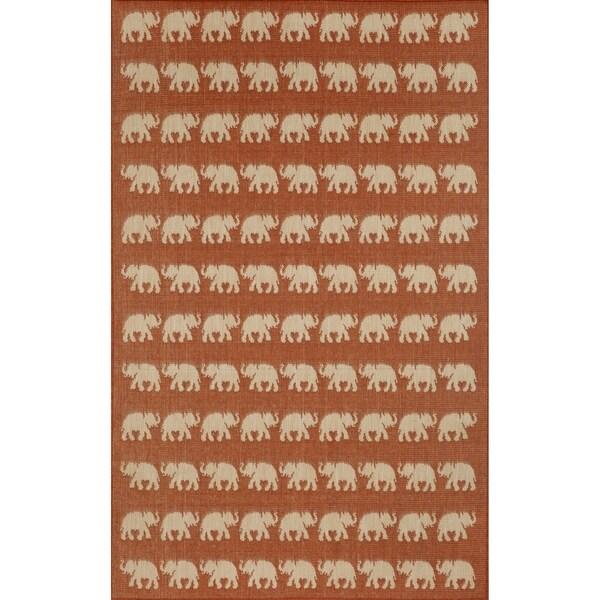 Marching Elephants Outdoor Rug (7'10 x 7'10) - 7'10 x 7'10