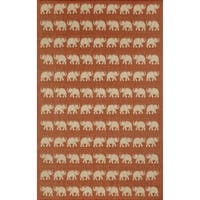 Marching Elephants Outdoor Rug - 7'10 x 7'10