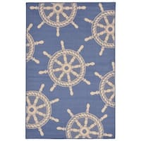 Nautical Wheel Outdoor Rug (7'10 x 7'10) - 7'10 x 7'10