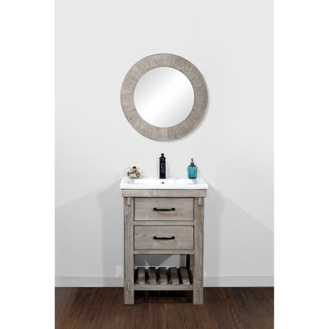"24""Rustic Solid Fir Single Sink Vanity with Ceramic Top-No Faucet"