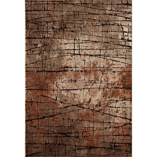 Central Oriental Rainier Beaverhead Brown Abstract Area Rug