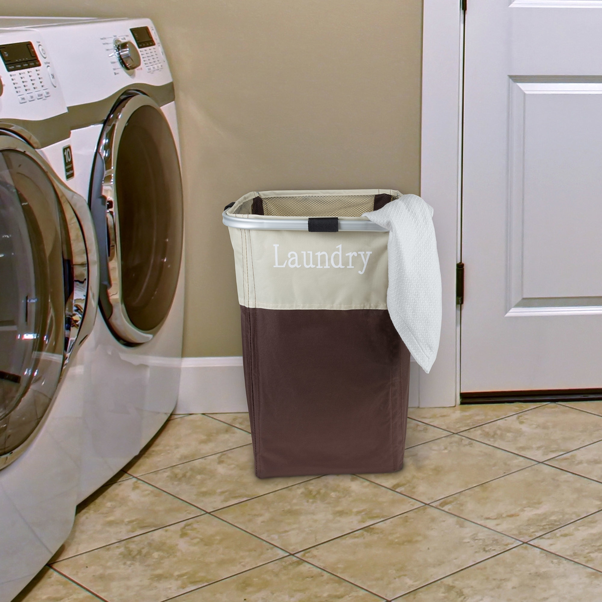 Laundry Hamper Large Collapsible Canvas Clothes Basket With Mesh Drawstring Closure By Windsor Home Overstock 20277592