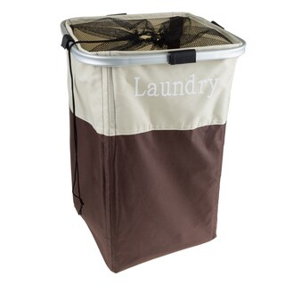 Laundry Hamper, Large Collapsible Canvas Clothes Basket With Mesh Drawstring Closure by Windsor Home