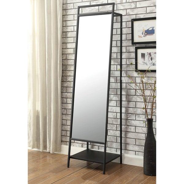 Shop Furniture of America Lansing A-Frame Standing Mirror - Black ...