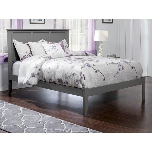Madison King Platform Bed with Open Foot Board in Grey