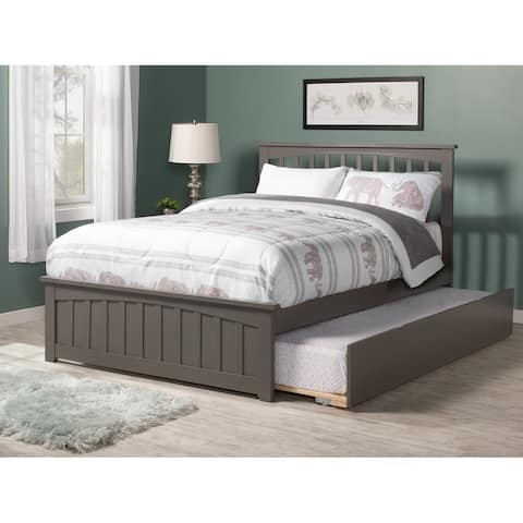 Mission Full Platform Bed with Matching Foot Board with Twin Size Urban Trundle Bed in Atlantic Grey