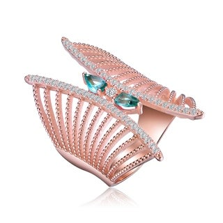 Collette Z Rose Gold Plated Blue Cubic Zirconia Accent Butterfly Design Setting Ring