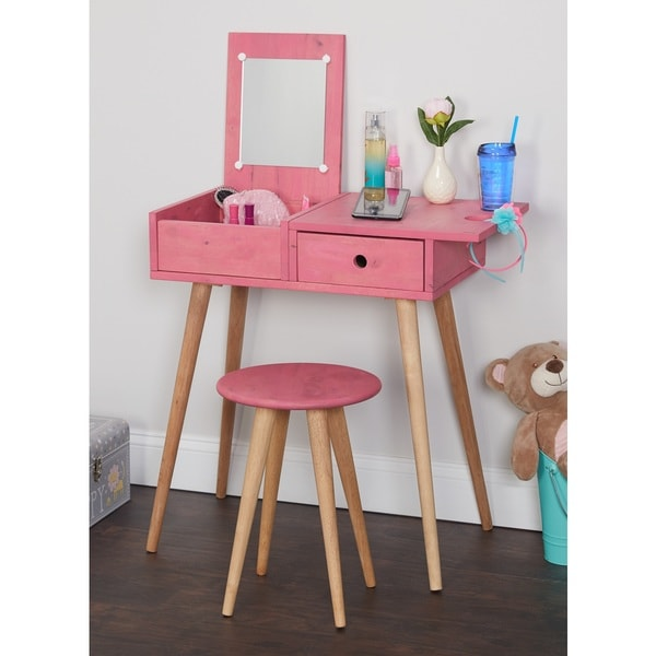 Shop Simple Living Ballet Vanity Desk and Stool Set - Free Shipping ...