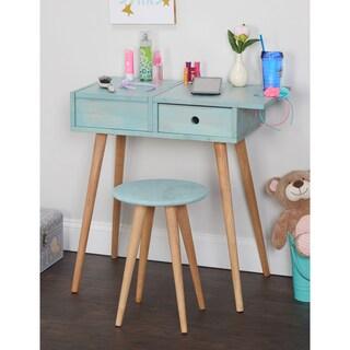 Simple Living Ballet Vanity Desk and Stool Set (Option: Blue)