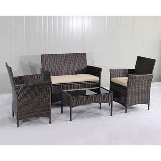 Helsinki Sofa Collection Brown/Beige Rattan/Steel/Glass Cushioned 4-piece Patio Seating Set