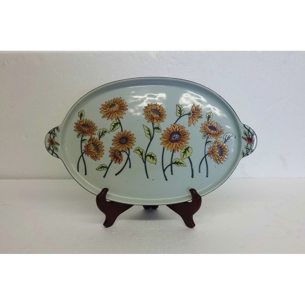 Sunflower Blooms Oval Porcelain Tray with stand