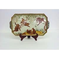 Monkey Design Rectangular Porcelain Tray with stand