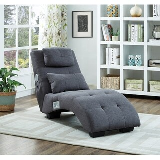 Best Quality Furniture Dark Grey Woven Fabric Tufted Chaise Lounge With Bluetooth Speakers