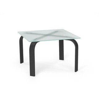 Office Reception Symphony Square End Table with Tempered Frosted Glass