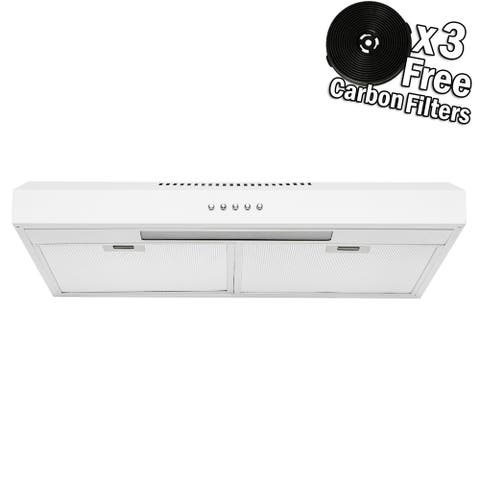 """AKDY RH0332 24"""" Under Cabinet White Stainless Steel Push Panel Kitchen Range Hood Cooking Fan w/ Carbon Filters"""