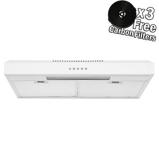 "AKDY RH0332 24"" Under Cabinet White Stainless Steel Push Panel Kitchen Range Hood Cooking Fan w/ Carbon Filters"
