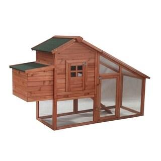 ALEKO Chicken Hen Coop Bunny Hutch Small Pet House 75x26x46 inches