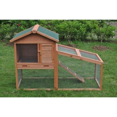 ALEKO Chicken Hen Cage & Rabbit Hutch 56.5 x 25.6 x 39.4 inches
