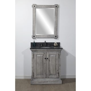 """31""""Rustic Solid Fir Single Sink Vanity in Grey Driftwood Finish with Limestone Top-No Faucet"""